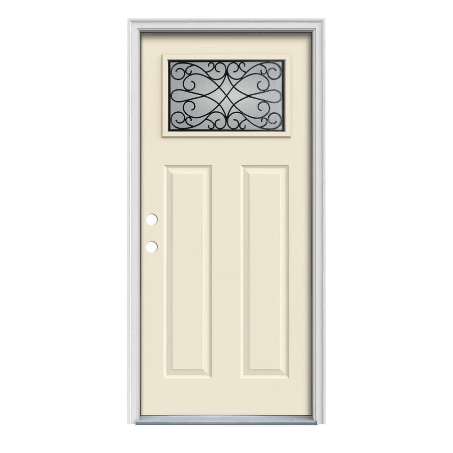 JELD-WEN Wyngate Craftsman Insulating Core 1-Lite Right-Hand Inswing Bisque Steel Painted Prehung Entry Door (Common: 32-in x 80-in; Actual: 33.5-in x 81.75-in)