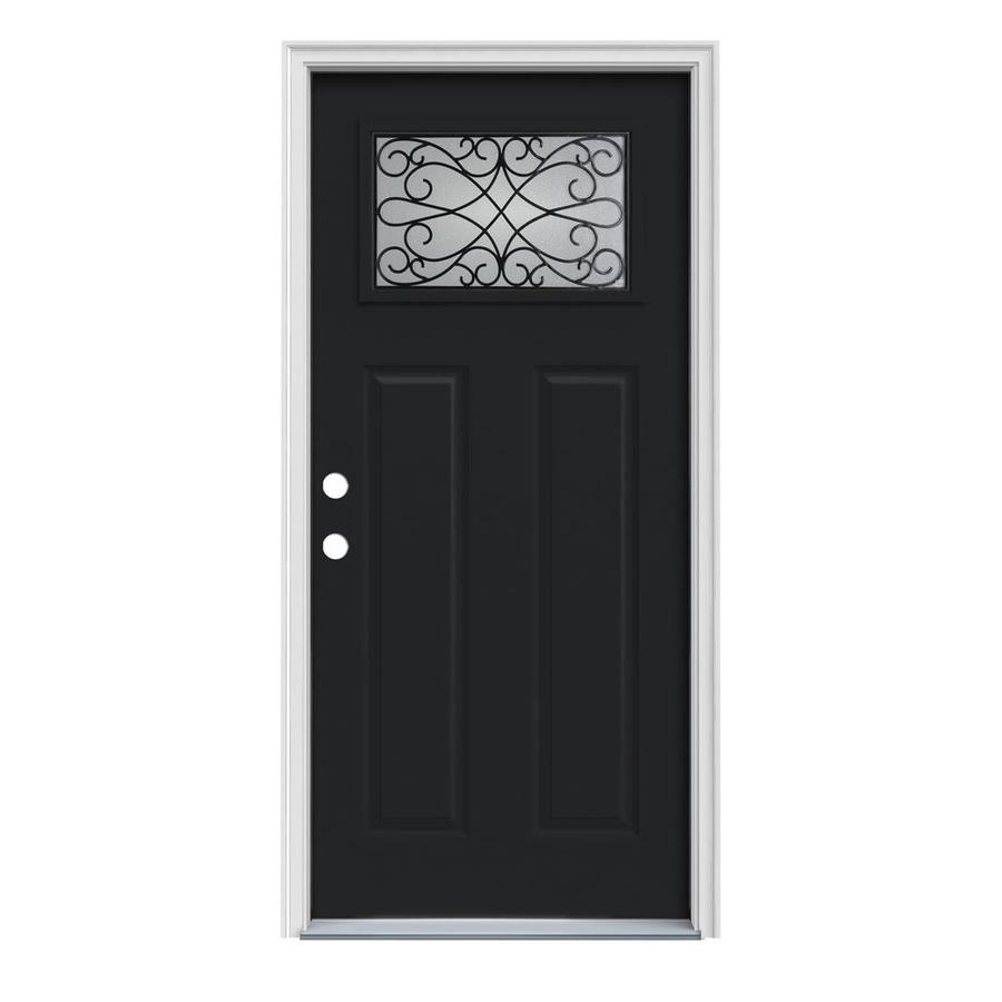 JELD-WEN Wyngate Craftsman Insulating Core 1-Lite Right-Hand Inswing Peppercorn Steel Painted Prehung Entry Door (Common: 32-in x 80-in; Actual: 33.5-in x 81.75-in)