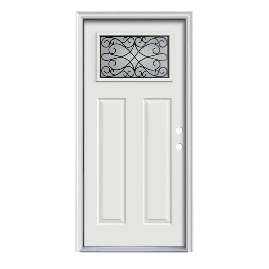 JELD-WEN Wyngate Decorative Glass Left-Hand Inswing Arctic White Painted Steel Prehung Entry Door with Insulating Core (Common: 36-in x 80-in; Actual: 37.5000-in x 81.7500-in)