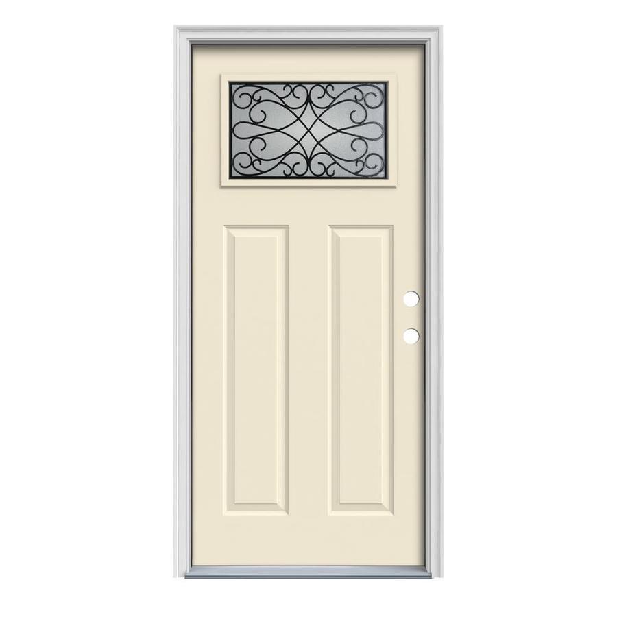 JELD-WEN Wyngate Craftsman Insulating Core 1-Lite Left-Hand Inswing Bisque Steel Painted Prehung Entry Door (Common: 36-in x 80-in; Actual: 37.5-in x 81.75-in)