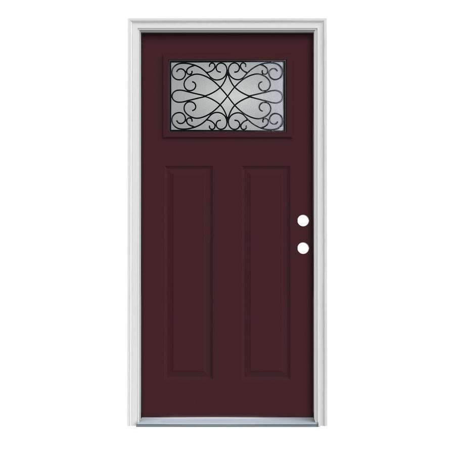 JELD-WEN Wyngate Decorative Glass Left-Hand Inswing Currant Painted Steel Prehung Entry Door with Insulating Core (Common: 36-in x 80-in; Actual: 37.5-in x 81.75-in)