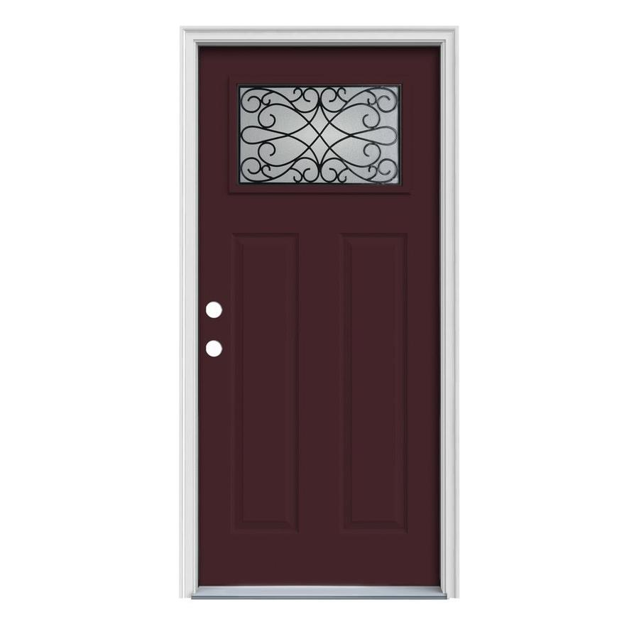 JELD-WEN Wyngate Decorative Glass Right-Hand Inswing Currant Steel Painted Entry Door (Common: 36-in x 80-in; Actual: 37.5-in x 81.75-in)