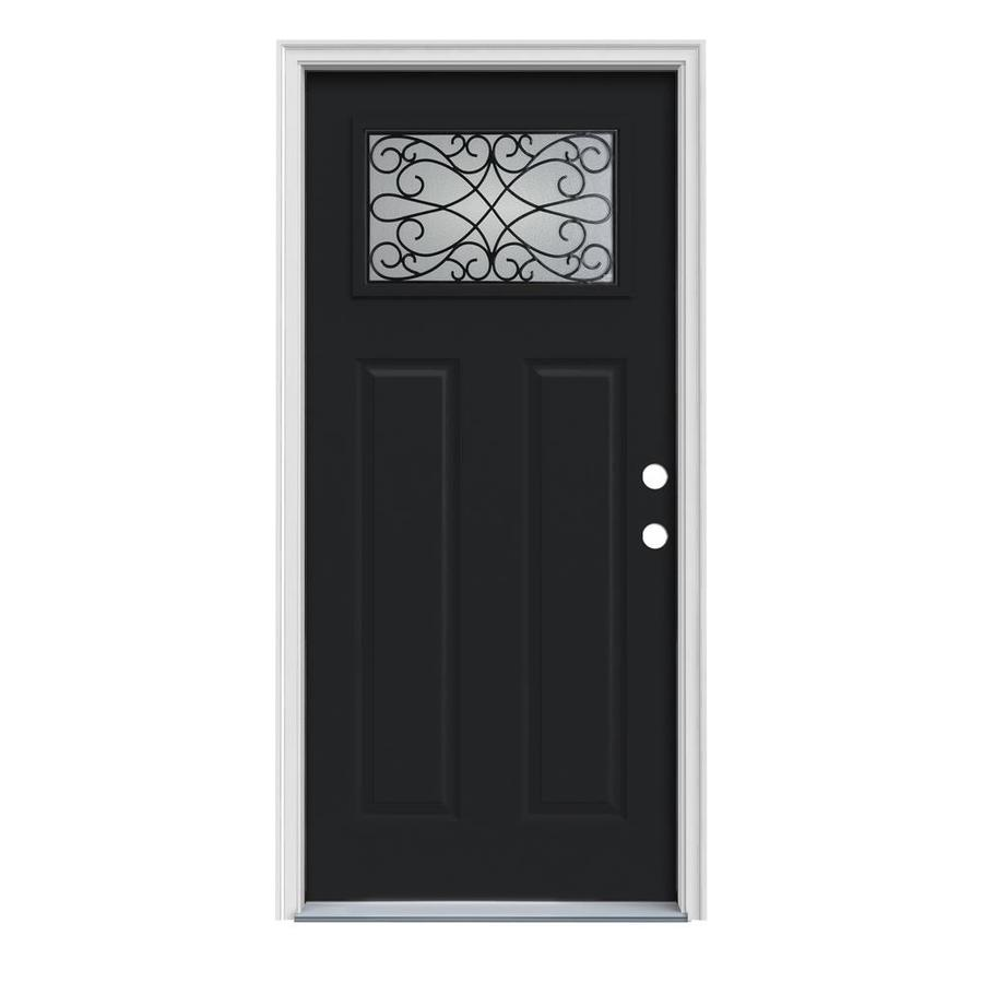 JELD-WEN Wyngate Decorative Glass Left-Hand Inswing Peppercorn Painted Steel Prehung Entry Door with Insulating Core (Common: 36-in x 80-in; Actual: 37.5-in x 81.75-in)