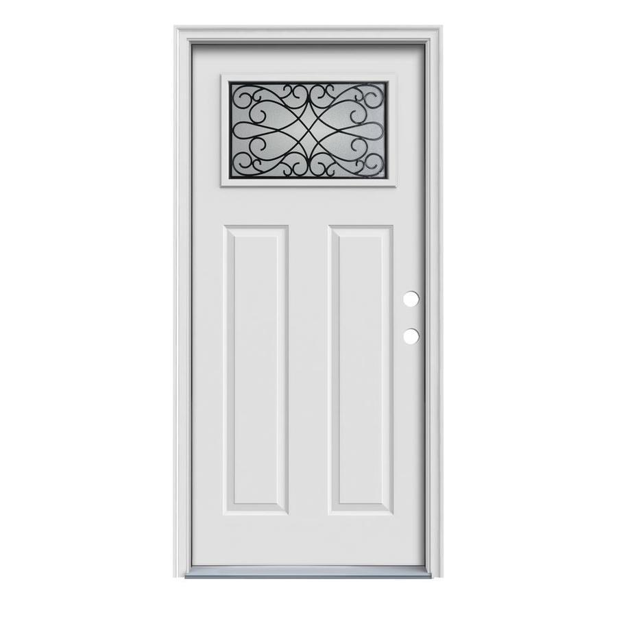 JELD-WEN Wyngate Craftsman Insulating Core Craftsman 1-Lite Left-Hand Inswing Steel Primed Prehung Entry Door (Common: 36-in x 80-in; Actual: 37.5-in x 81.75-in)