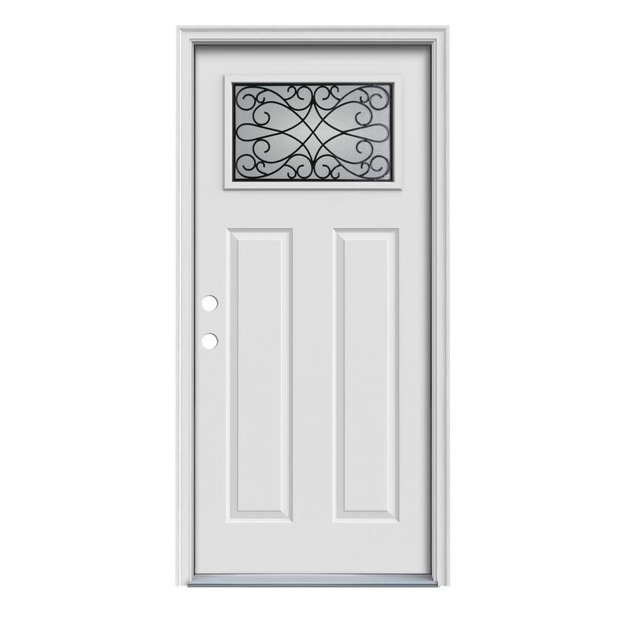 JELD-WEN Wyngate Decorative Glass Right-Hand Inswing Steel Primed Entry Door (Common: 36-in x 80-in; Actual: 37.5000-in x 81.7500-in)
