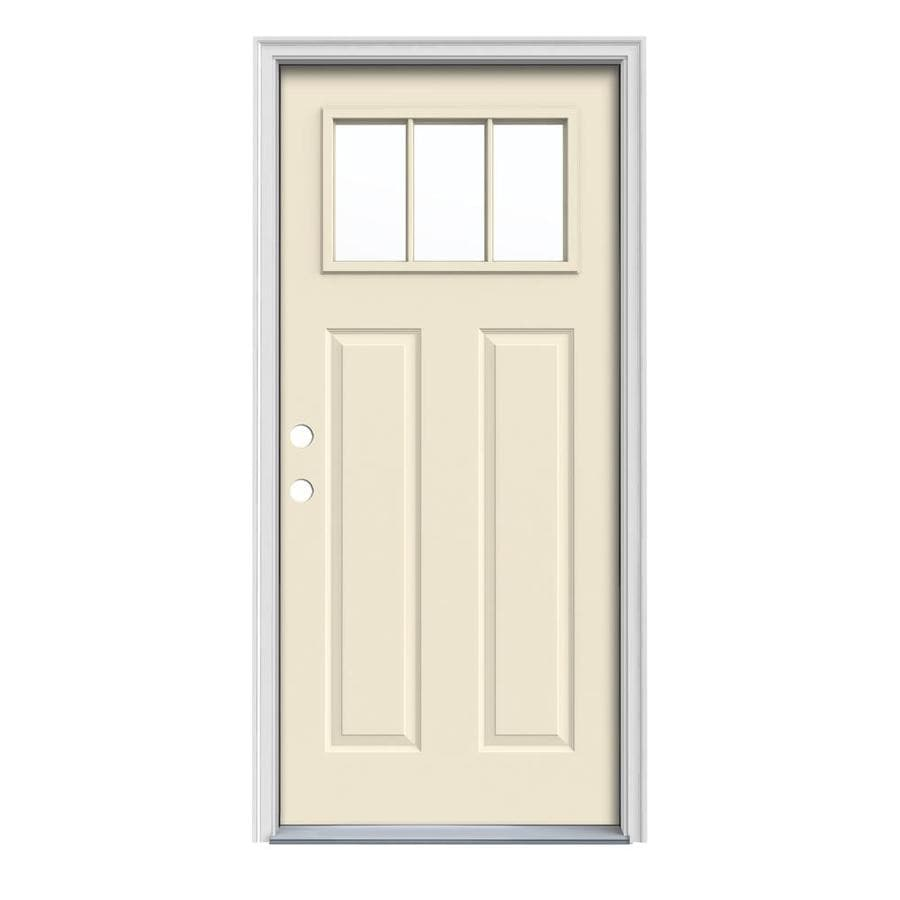 JELD-WEN Craftsman Decorative Glass Right-Hand Inswing Bisque Painted Steel Prehung Entry Door with Insulating Core (Common: 32-in x 80-in; Actual: 33.5000-in x 81.7500-in)