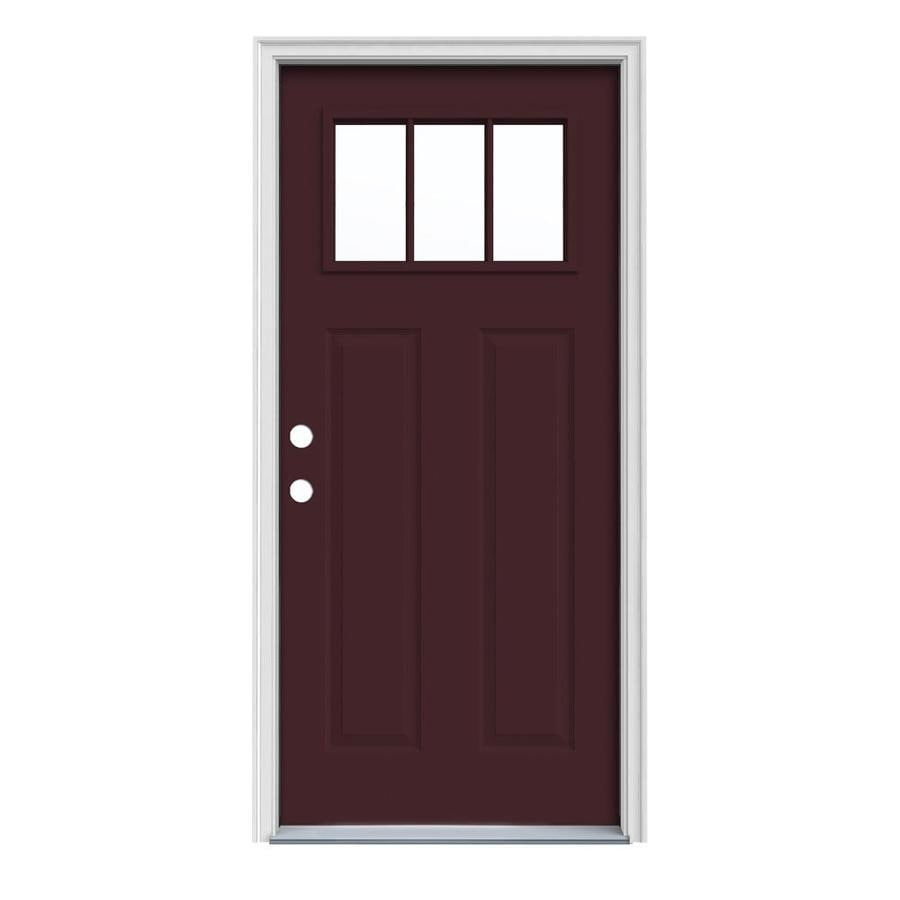 JELD-WEN Craftsman Insulating Core Craftsman 3-Lite Right-Hand Inswing Currant Steel Painted Prehung Entry Door (Common: 32-in x 80-in; Actual: 33.5-in x 81.75-in)