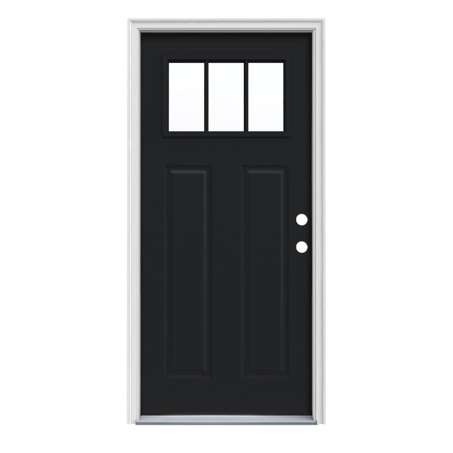 JELD-WEN Craftsman Decorative Glass Left-Hand Inswing Peppercorn Painted Steel Prehung Entry Door with Insulating Core (Common: 32-in x 80-in; Actual: 33.5-in x 81.75-in)