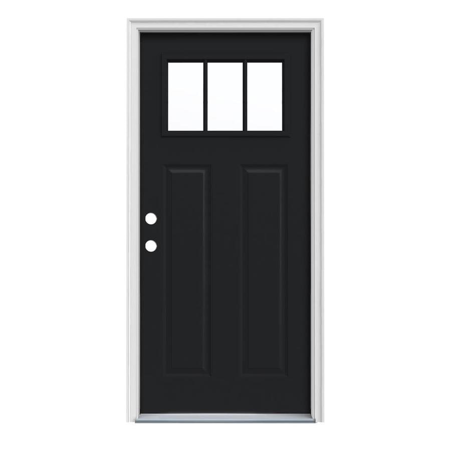 JELD-WEN Craftsman Insulating Core Craftsman 3-Lite Right-Hand Inswing Peppercorn Steel Painted Prehung Entry Door (Common: 32-in x 80-in; Actual: 33.5-in x 81.75-in)