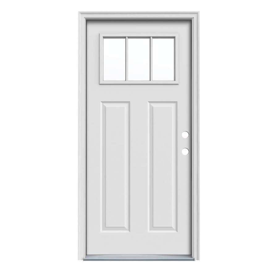 JELD-WEN Craftsman Decorative Glass Left-Hand Inswing Primed Steel Prehung Entry Door with Insulating Core (Common: 32-in x 80-in; Actual: 33.5000-in x 81.7500-in)