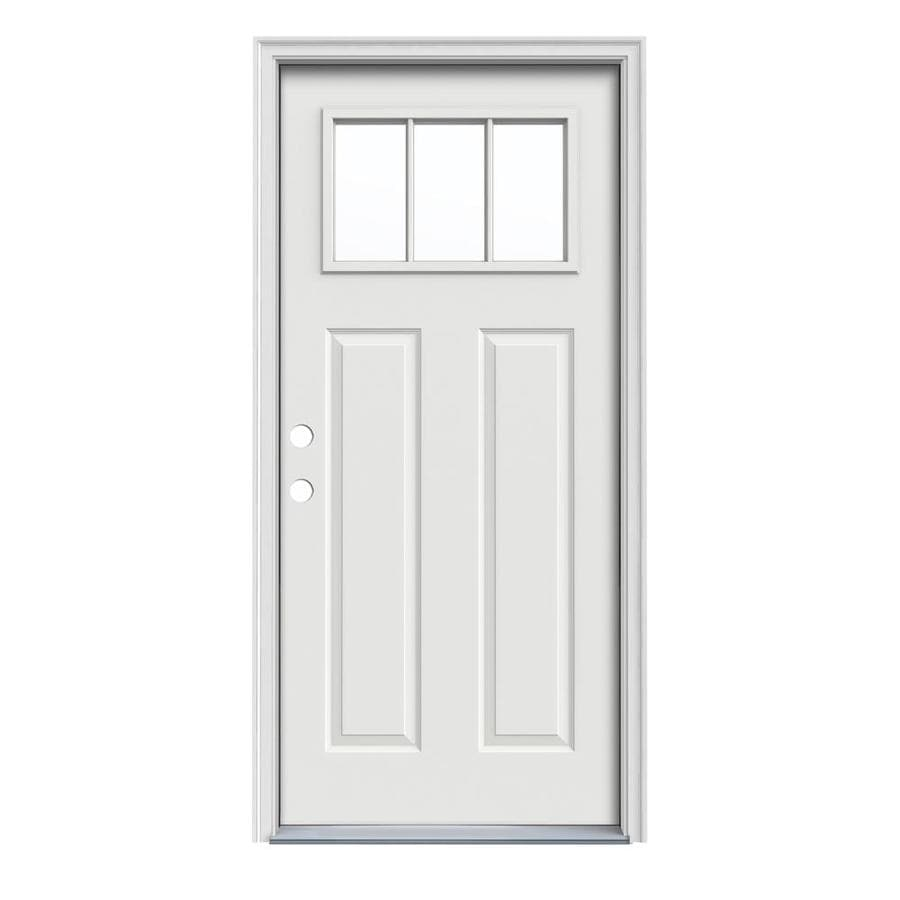JELD-WEN Craftsman Insulating Core Craftsman 3-Lite Right-Hand Inswing Arctic White Steel Painted Prehung Entry Door (Common: 32-in x 80-in; Actual: 33.5-in x 81.75-in)