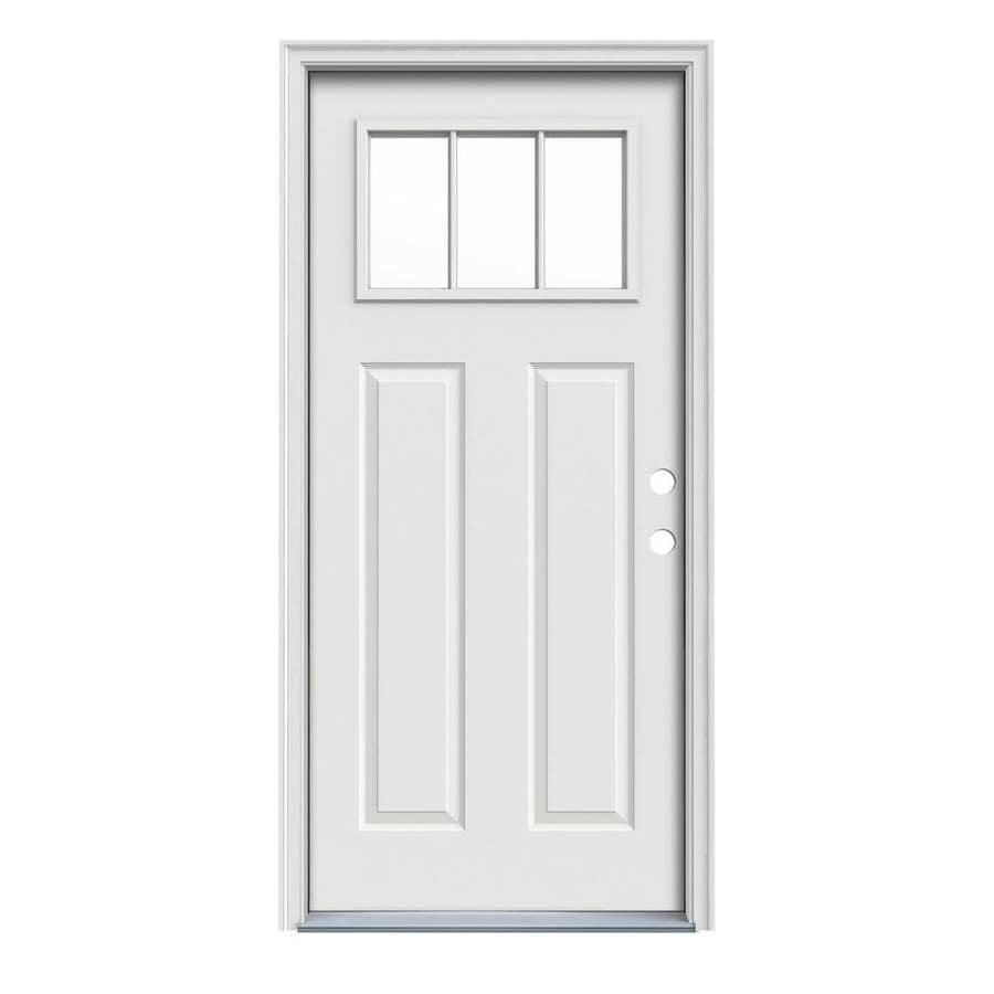 JELD-WEN Craftsman Decorative Glass Left-Hand Inswing Arctic White Steel Painted Entry Door (Common: 36-in x 80-in; Actual: 37.5-in x 81.75-in)