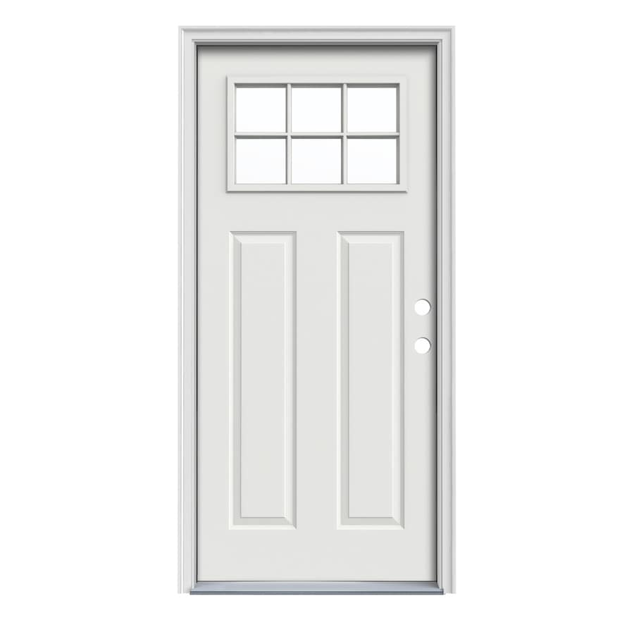 Shop Jeld Wen Craftsman Decorative Glass Left Hand Inswing Arctic White Painted Steel Prehung
