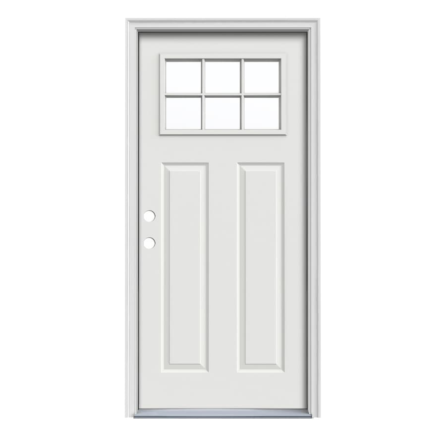 JELD-WEN Craftsman Decorative Glass Right-Hand Inswing Arctic White Painted Steel Prehung Entry Door with Insulating Core (Common: 32-in x 80-in; Actual: 33.5000-in x 81.7500-in)