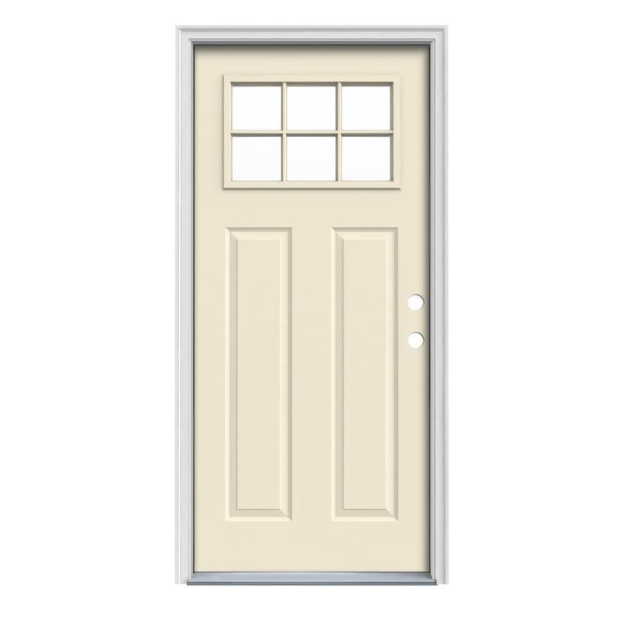 JELD-WEN Craftsman Insulating Core Craftsman 6-Lite Left-Hand Inswing Bisque Steel Painted Prehung Entry Door (Common: 32-in x 80-in; Actual: 33.5-in x 81.75-in)