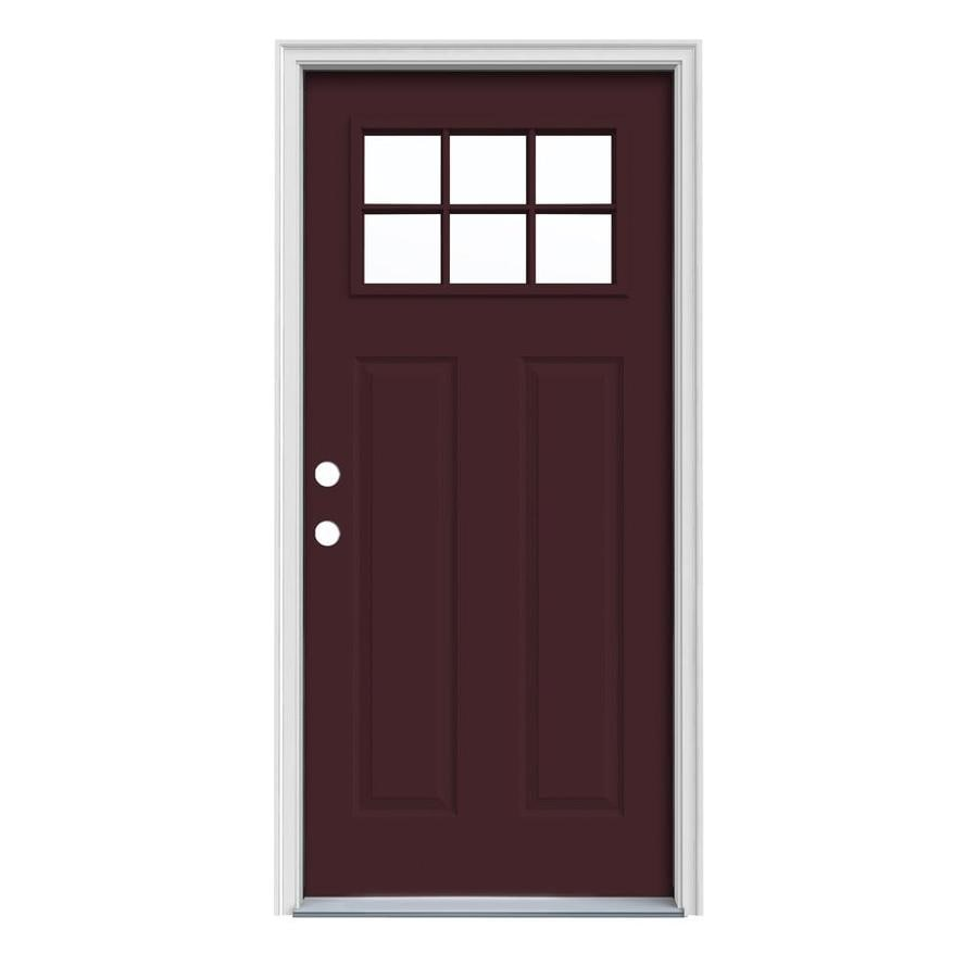 JELD-WEN Craftsman Insulating Core Craftsman 6-Lite Right-Hand Inswing Currant Steel Painted Prehung Entry Door (Common: 32-in x 80-in; Actual: 33.5-in x 81.75-in)