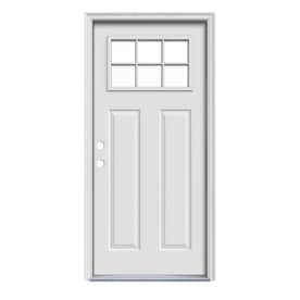 JELD WEN Craftsman Decorative Glass Steel Entry Door