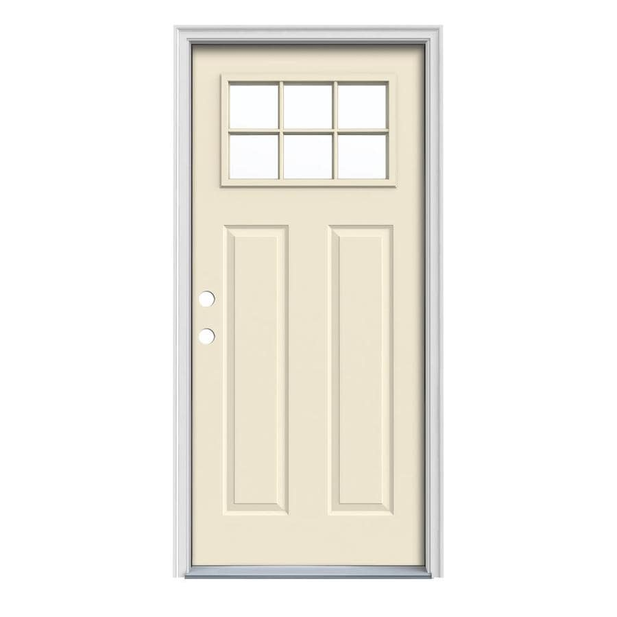 JELD-WEN Craftsman Decorative Glass Right-Hand Inswing Bisque Painted Steel Prehung Entry Door with Insulating Core (Common: 36-in x 80-in; Actual: 37.5-in x 81.75-in)