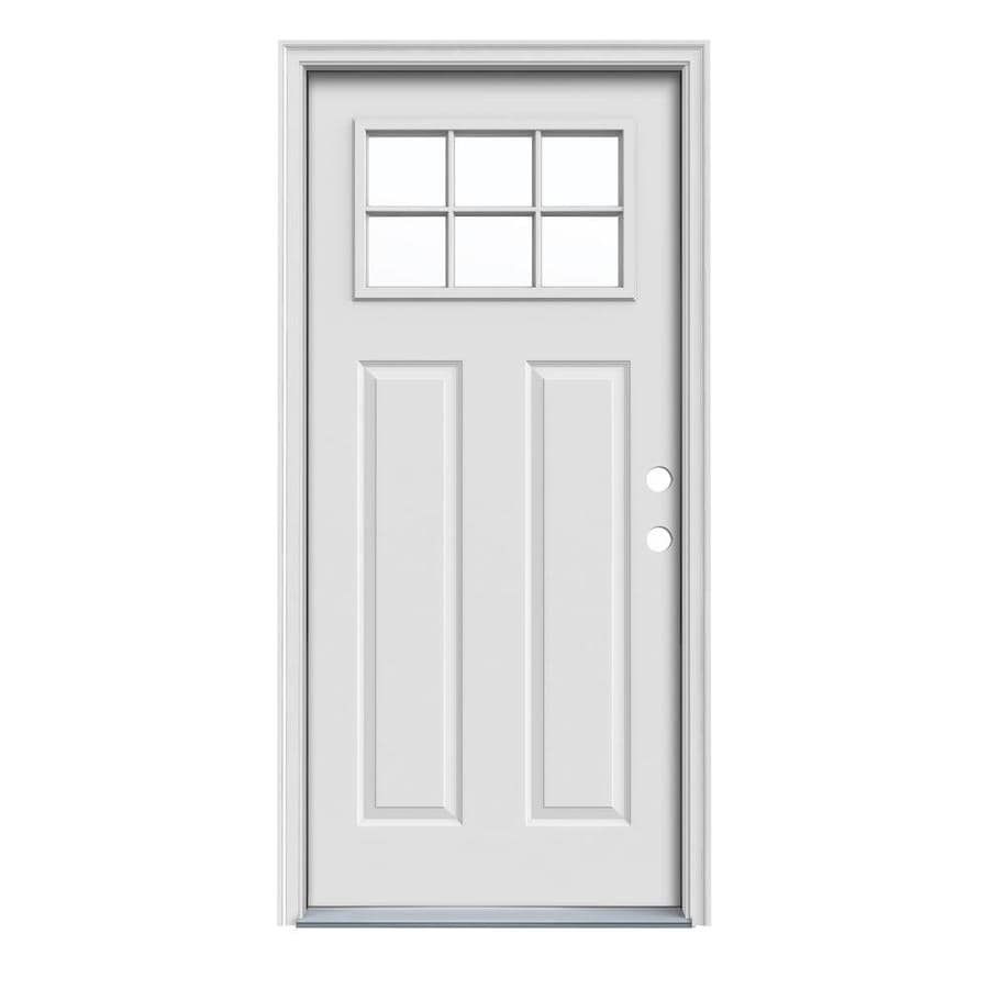 JELD-WEN Craftsman Decorative Glass Left-Hand Inswing Primed Steel Prehung Entry Door with Insulating Core (Common: 36-in x 80-in; Actual: 37.5000-in x 81.7500-in)