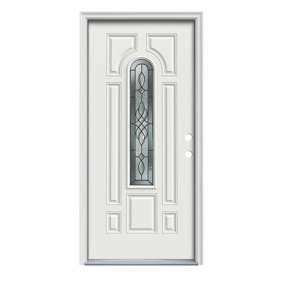 JELD-WEN Hampton 8-Panel Insulating Core Center Arch Lite Left-Hand Inswing Arctic White Steel Painted Prehung Entry Door (Common: 36-in x 80-in; Actual: 37.5-in x 81.75-in)