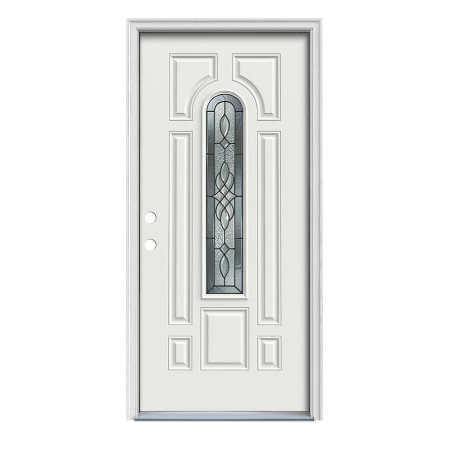 JELD-WEN Hampton 8-Panel Insulating Core Center Arch Lite Right-Hand Inswing Arctic White Steel Painted Prehung Entry Door (Common: 36-in x 80-in; Actual: 37.5-in x 81.75-in)