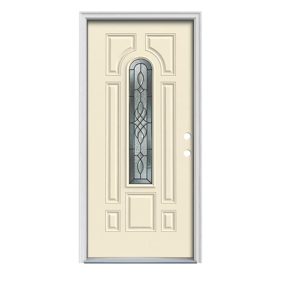 Shop jeld wen hampton decorative glass left hand inswing for Exterior door insulation