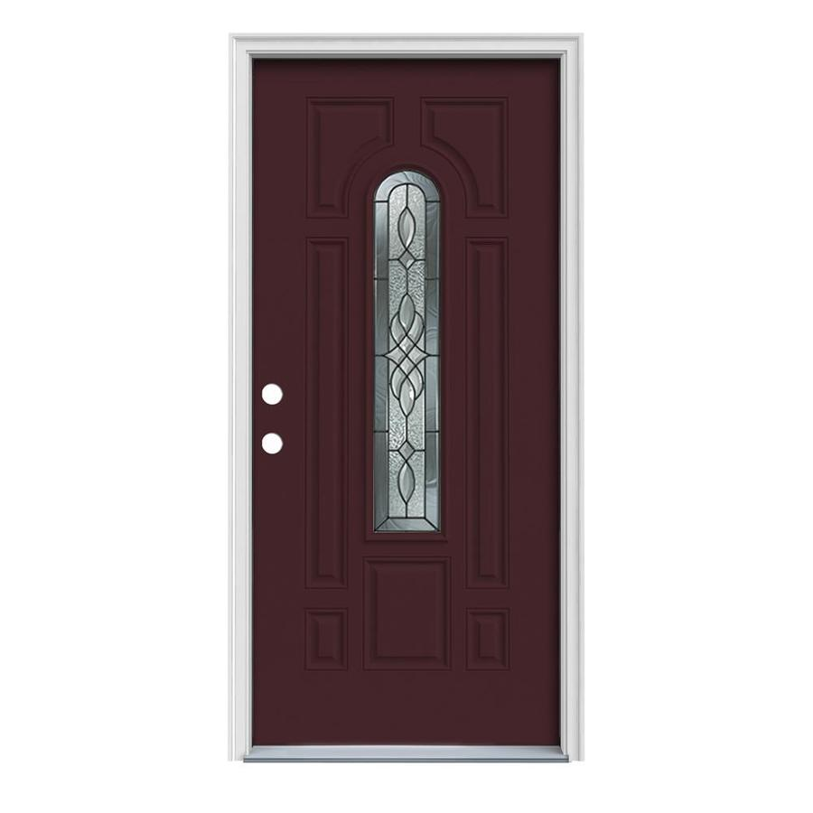 JELD-WEN Hampton Decorative Glass Right-Hand Inswing Currant Painted Steel Prehung Entry Door with Insulating Core (Common: 36-in x 80-in; Actual: 37.5-in x 81.75-in)