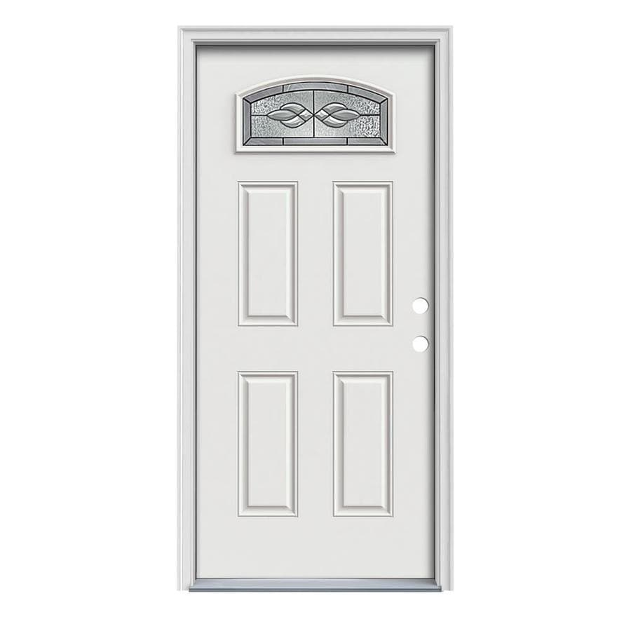 JELD-WEN Hampton Decorative Glass Left-Hand Inswing Arctic White Painted Steel Prehung Entry Door with Insulating Core (Common: 32-in x 80-in; Actual: 33.5-in x 81.75-in)