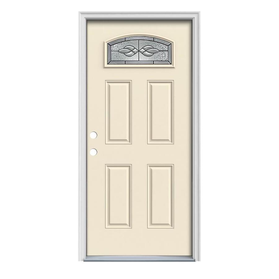 JELD-WEN Hampton 4-Panel Insulating Core Morelight Right-Hand Inswing Bisque Steel Painted Prehung Entry Door (Common: 32-in x 80-in; Actual: 33.5-in x 81.75-in)