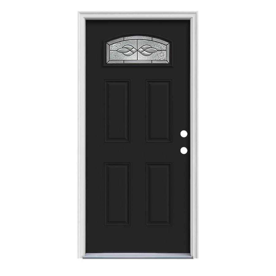 JELD-WEN Hampton 4-Panel Insulating Core Morelight Left-Hand Inswing Peppercorn Steel Painted Prehung Entry Door (Common: 32-in x 80-in; Actual: 33.5-in x 81.75-in)