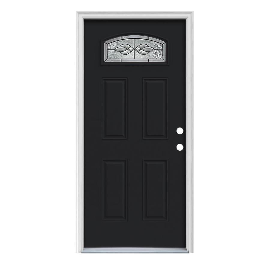 JELD-WEN Hampton 4-Panel Insulating Core Morelight Left-Hand Inswing Peppercorn Steel Painted Prehung Entry Door (Common: 32-in x 80-in; Actual: 33.5-in x 81.75-in)