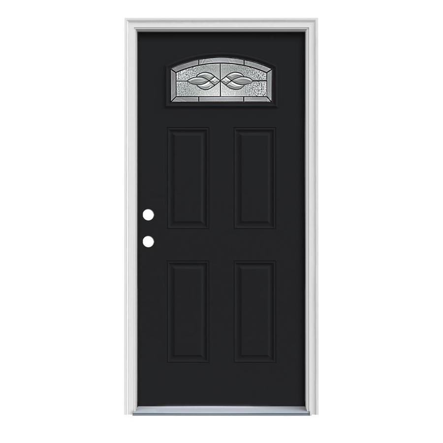 JELD-WEN Hampton Decorative Glass Right-Hand Inswing Peppercorn Painted Steel Prehung Entry Door with Insulating Core (Common: 32-in x 80-in; Actual: 33.5-in x 81.75-in)