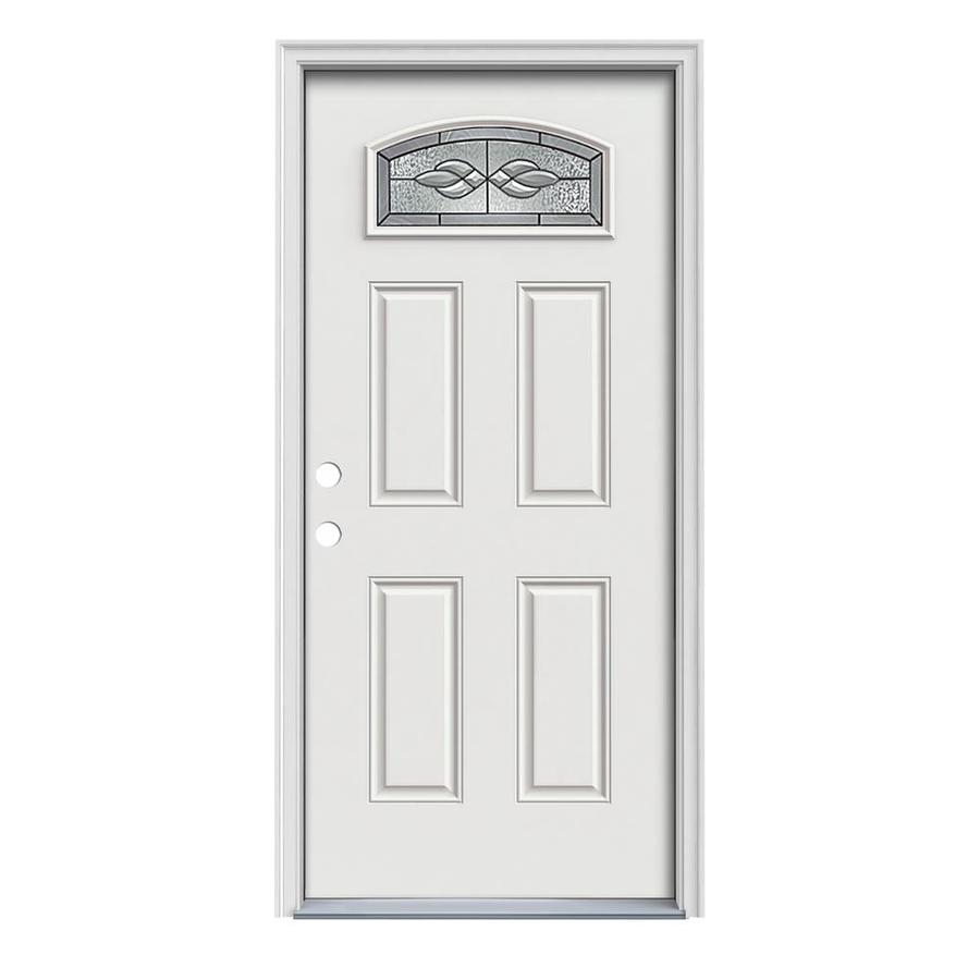 JELD-WEN Hampton 4-Panel Insulating Core Morelight Right-Hand Inswing Arctic White Steel Painted Prehung Entry Door (Common: 36-in x 80-in; Actual: 37.5-in x 81.75-in)