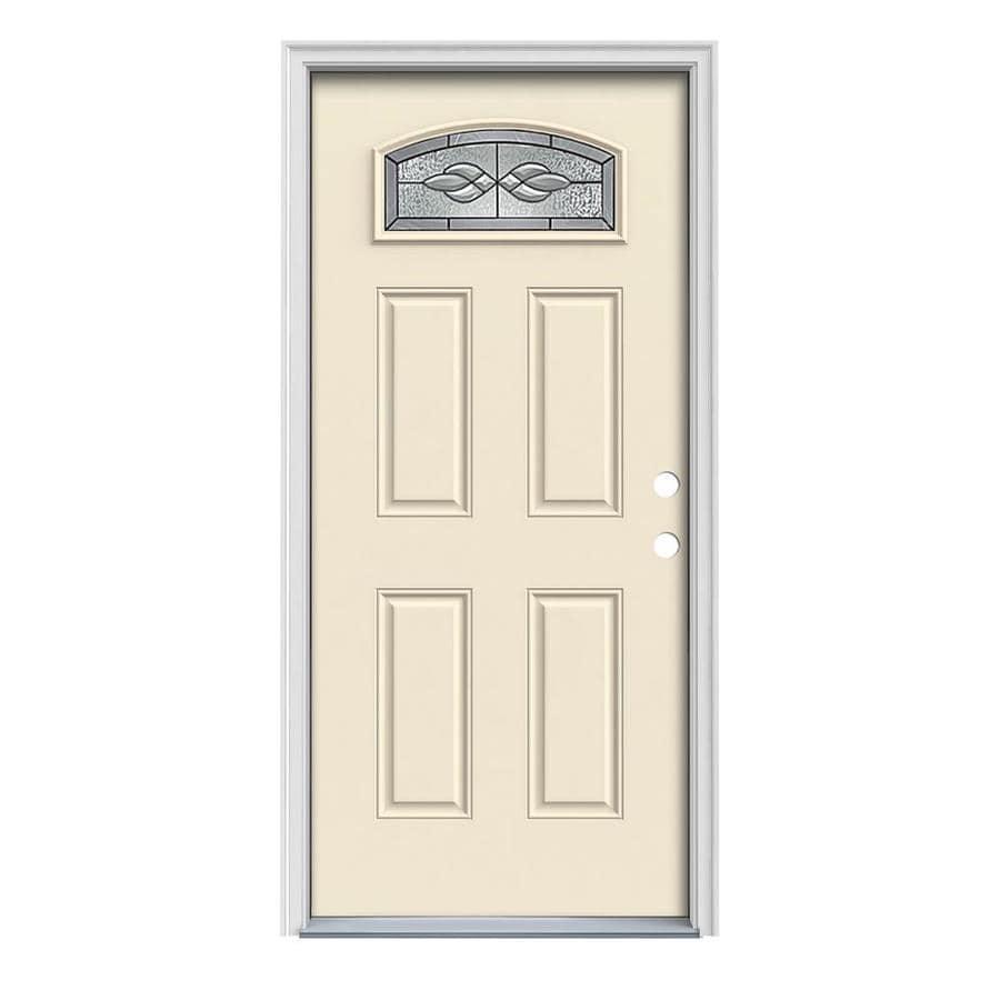 JELD-WEN Hampton 4-Panel Insulating Core Morelight Left-Hand Inswing Bisque Steel Painted Prehung Entry Door (Common: 36-in x 80-in; Actual: 37.5-in x 81.75-in)