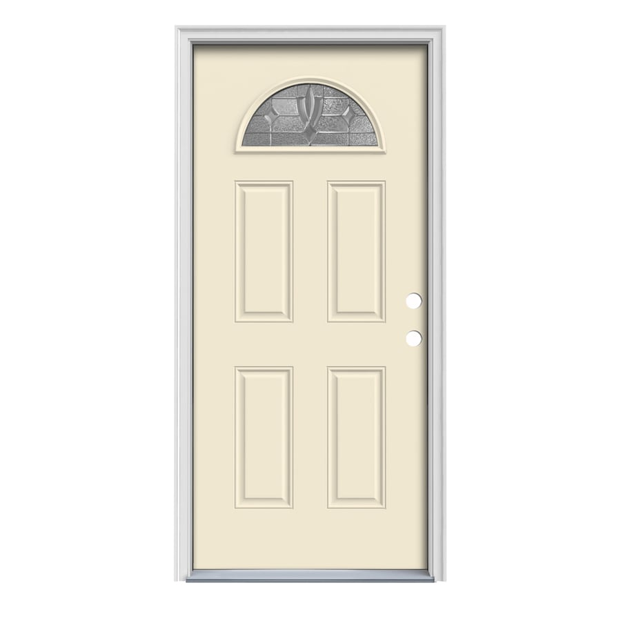 JELD-WEN Laurel 4-Panel Insulating Core Fan Lite Left-Hand Inswing Bisque Steel Painted Prehung Entry Door (Common: 32-in x 80-in; Actual: 33.5-in x 81.75-in)