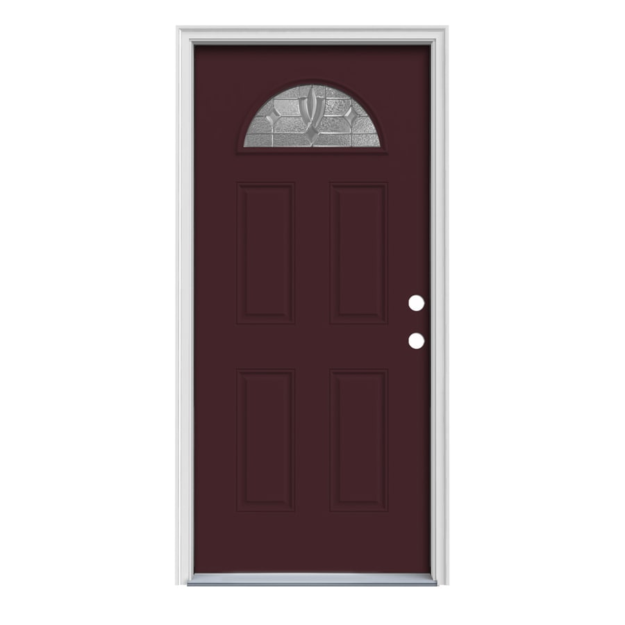 JELD-WEN Laurel 4-Panel Insulating Core Fan Lite Left-Hand Inswing Currant Steel Painted Prehung Entry Door (Common: 32-in x 80-in; Actual: 33.5-in x 81.75-in)
