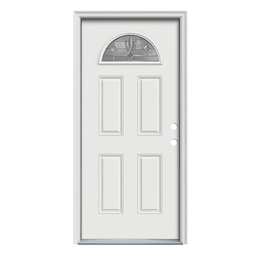 JELD-WEN Laurel 4-panel Insulating Core Fan Lite Left-Hand Inswing Arctic White Steel Painted Prehung Entry Door (Common: 36-in x 80-in; Actual: 37.5-in x 81.75-in)