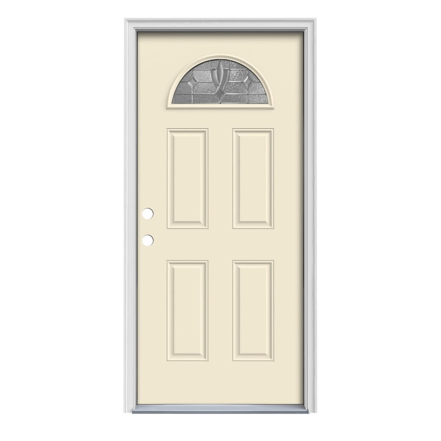 JELD-WEN Laurel 4-Panel Insulating Core Fan Lite Right-Hand Inswing Bisque Steel Painted Prehung Entry Door (Common: 36-in x 80-in; Actual: 37.5-in x 81.75-in)