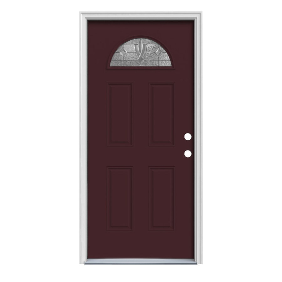 JELD-WEN Laurel Decorative Glass Left-Hand Inswing Currant Painted Steel Prehung Entry Door with Insulating Core (Common: 36-in x 80-in; Actual: 37.5000-in x 81.7500-in)