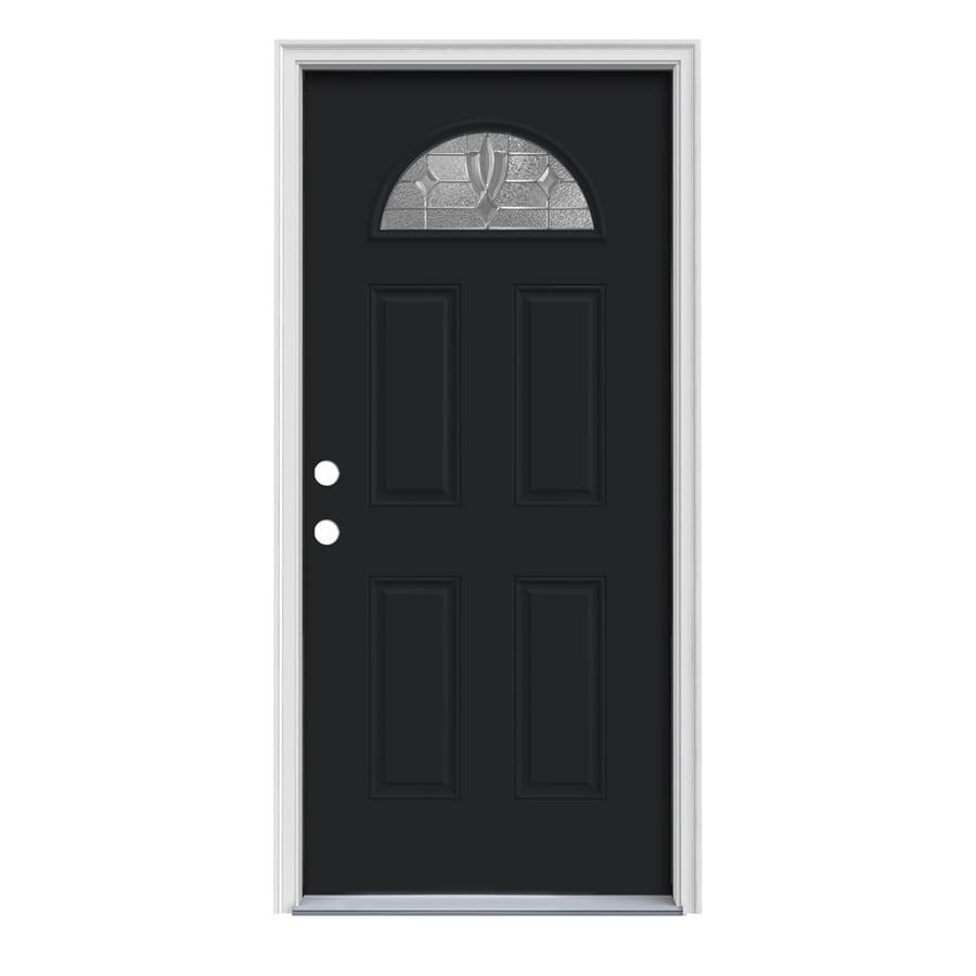 JELD-WEN Laurel Decorative Glass Right-Hand Inswing Peppercorn Painted Steel Prehung Entry Door with Insulating Core (Common: 36-in x 80-in; Actual: 37.5000-in x 81.7500-in)