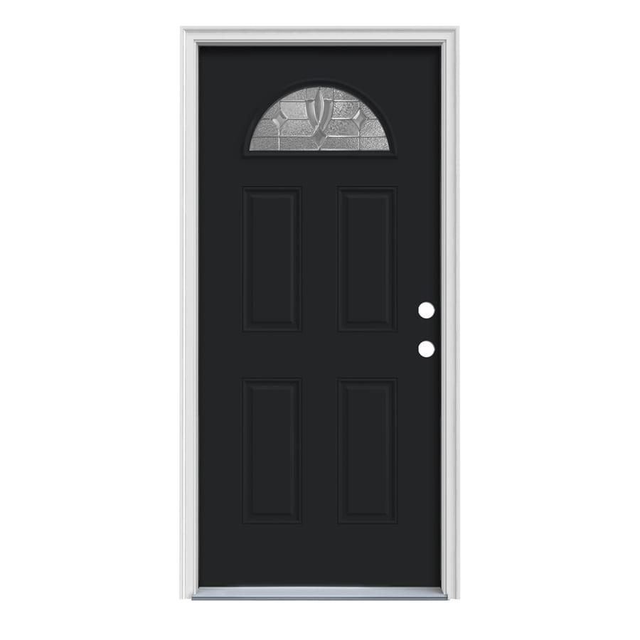 JELD-WEN Laurel 4-Panel Insulating Core Fan Lite Left-Hand Inswing Peppercorn Steel Painted Prehung Entry Door (Common: 36-in x 80-in; Actual: 37.5-in x 81.75-in)