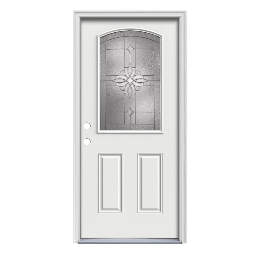 JELD-WEN Laurel 2-Panel Insulating Core Camber Top Half Lite Right-Hand Inswing Arctic White Steel Painted Prehung Entry Door (Common: 32-in x 80-in; Actual: 33.5-in x 81.75-in)