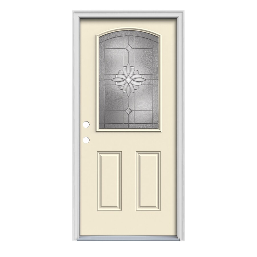 JELD-WEN Laurel 2-Panel Insulating Core Camber Top Half Lite Right-Hand Inswing Bisque Steel Painted Prehung Entry Door (Common: 32-in x 80-in; Actual: 33.5-in x 81.75-in)