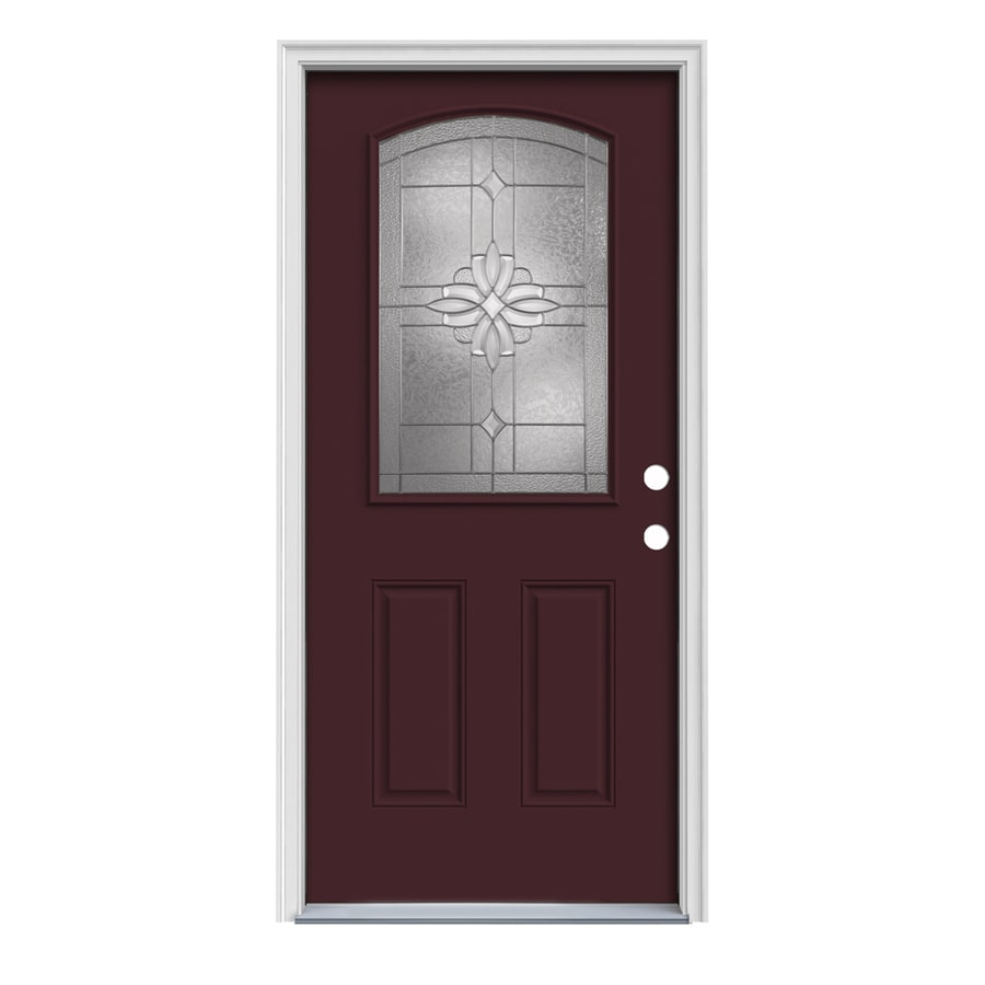 JELD-WEN Laurel Decorative Glass Left-Hand Inswing Currant Painted Steel Prehung Entry Door with Insulating Core (Common: 32-in x 80-in; Actual: 33.5-in x 81.75-in)
