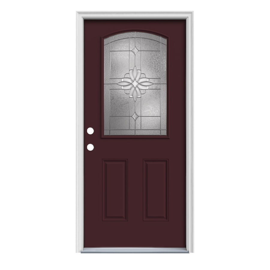 JELD-WEN Laurel Decorative Glass Right-Hand Inswing Currant Painted Steel Prehung Entry Door with Insulating Core (Common: 32-in x 80-in; Actual: 33.5-in x 81.75-in)