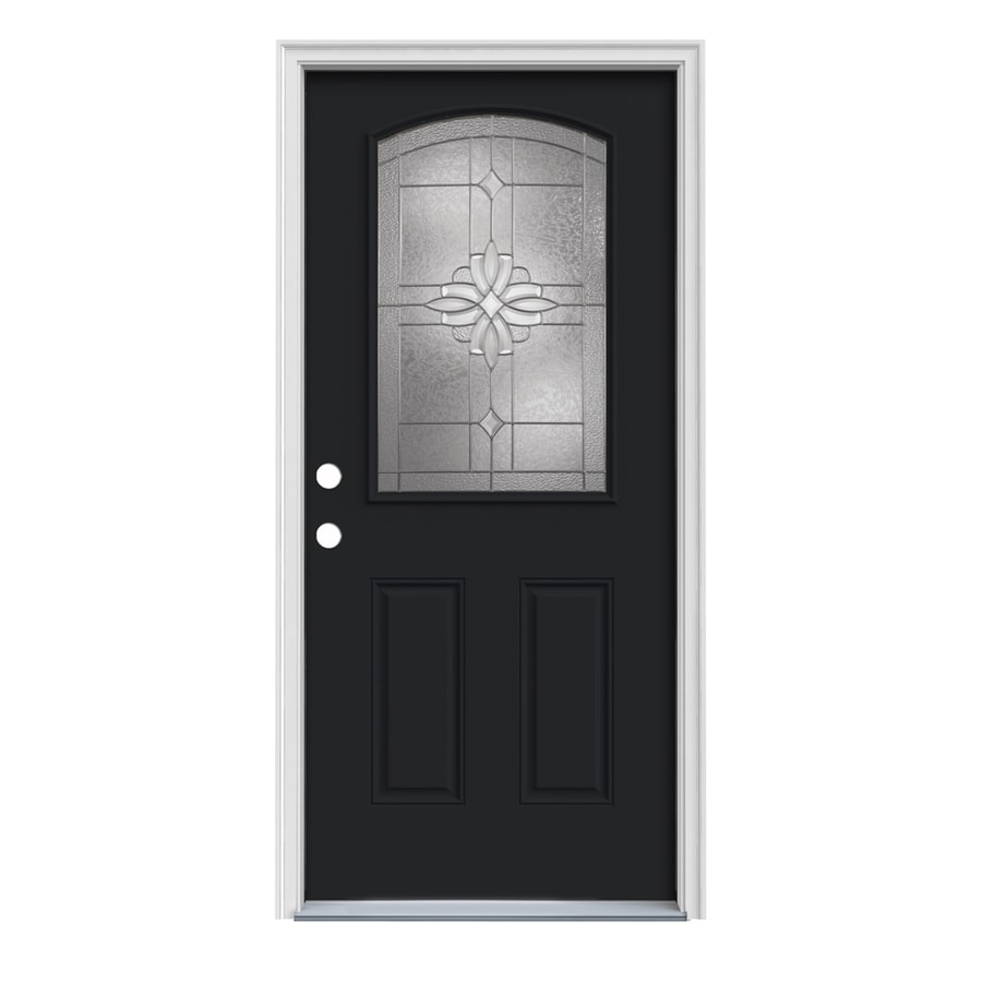 JELD-WEN Laurel 2-Panel Insulating Core Camber Top Half Lite Right-Hand Inswing Peppercorn Steel Painted Prehung Entry Door (Common: 32-in x 80-in; Actual: 33.5-in x 81.75-in)