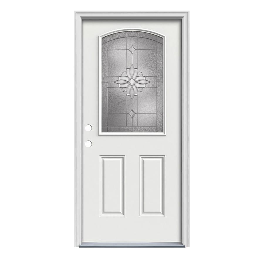 JELD-WEN Laurel 2-Panel Insulating Core Camber Top Half Lite Right-Hand Inswing Arctic White Steel Painted Prehung Entry Door (Common: 36-in x 80-in; Actual: 37.5-in x 81.75-in)