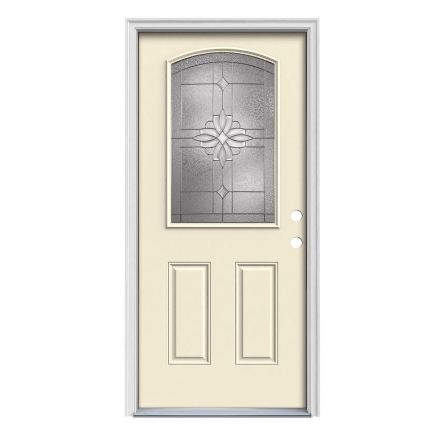 JELD-WEN Laurel Decorative Glass Left-Hand Inswing Bisque Painted Steel Prehung Entry Door with Insulating Core (Common: 36-in x 80-in; Actual: 37.5-in x 81.75-in)