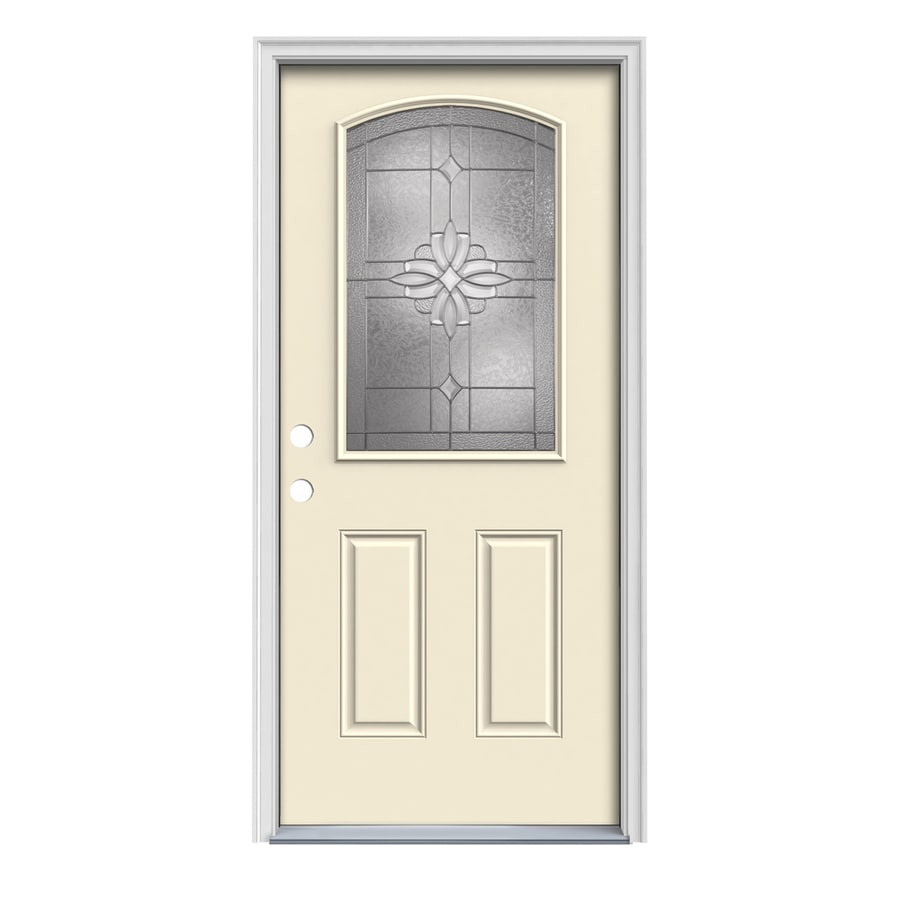 JELD-WEN Laurel Decorative Glass Right-Hand Inswing Bisque Painted Steel Prehung Entry Door with Insulating Core (Common: 36-in x 80-in; Actual: 37.5-in x 81.75-in)