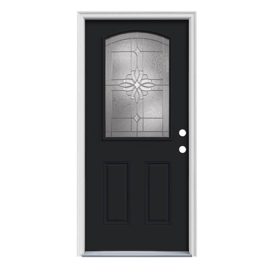JELD-WEN Laurel 2-Panel Insulating Core Camber Top Half Lite Left-Hand Inswing Peppercorn Steel Painted Prehung Entry Door (Common: 36-in x 80-in; Actual: 37.5-in x 81.75-in)